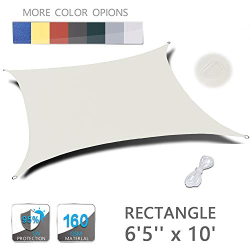 LOVE STORY 6'5'' x 10' Rectangle Beige Waterproof Sun Shade Sail Perfect for Outdoor Patio Garden