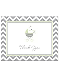 50 Cnt Lovely Mint Carriage Baby Shower Thank You Cards BOBEBE Online Baby Store From New York to Miami and Los Angeles