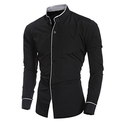 Men Dress Shirts Daoroka Cotton Casual Long Sleeve Work Wear Button Collar Blouse Slim Fit Fashion Comfort Business Tops T Shirt (L, Black) by Daoroka Men Blouse