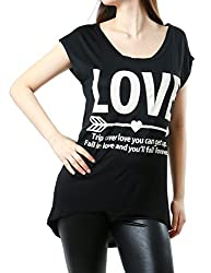 Womens  Love Graphic Print Loose comfy Stretchy Top