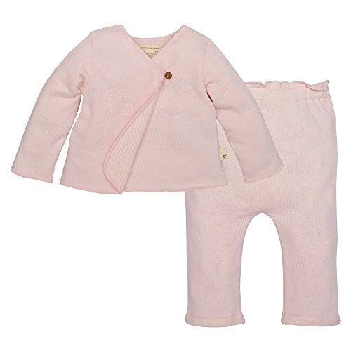 Burt's Bees Baby Baby Organic Kimono Top and Pant Set, Pink, 12 (Girl Kimono Set)