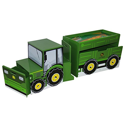 Adorable, Durable Stylish And Versatile Tractor Toy box Set - Perfect For Setting A Boy's Themed Room And For Storing Toys And Small Things!