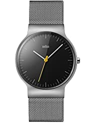 Braun Mens BN0211BKSLMHG Classic Slim Analog Display Japanese Quartz Silver Watch