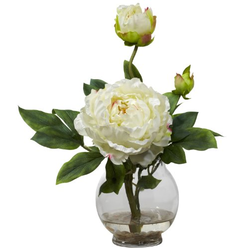 Nearly Natural 1278-WH Peony with Fluted Vase Silk Flower Arrangement, White