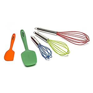 Whisk, Silicone Whisks, Spatula, and Spoon, 5 piece Premium Cooking Utensil Set Includes Small, Medium, and Large Whisks, Spatula, and Stirring Spoon