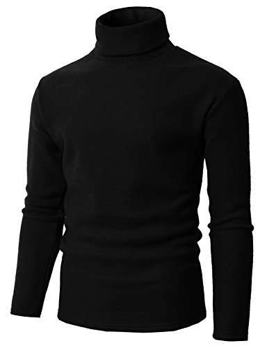H2H Mens Slim Fit Soft Cotton Blend Turtleneck Pullover Sweater Black US 4XL/Asia 5XL (KMOSWL0210) Big And Tall Cotton Sweater