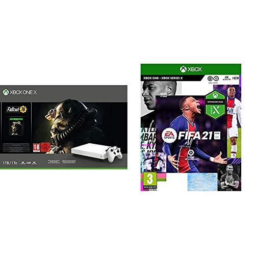 Microsoft Xbox One X – Consola 1 TB, Edición Fallout, Color Blanco + FIFA 21 Edición Estándar