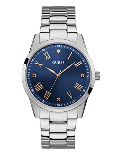 - GUESS  Stainless Steel Bracelet Watch with Iconic Blue Genuine Diamond Dial + Rose Gold-Tone Roman Numerals. Color: Silver + Rose Gold-Tone/Blue (Model U1194G2)