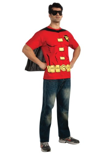 Rubie's Costume DC Comics Men's Robin T-Shirt With Cape And Mask, Red, Medium ()