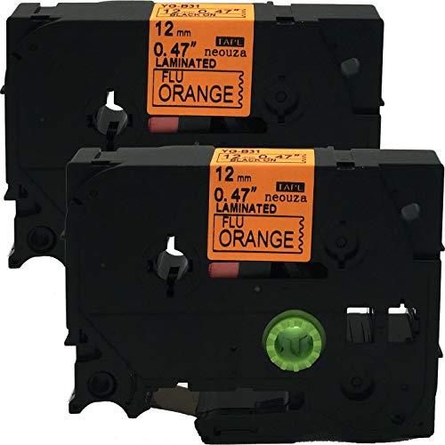 NEOUZA 2PK Compatible For Brother P-Touch Laminated TZe TZ Label Tape Cartridge 12mm x 5m (TZe-B31 Black on Orange Fluorescent)