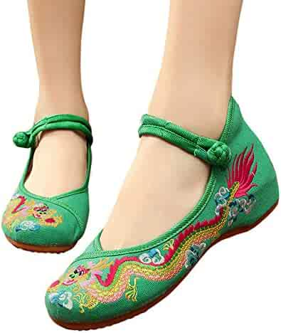 5345bb5f4 CINAK Embroidered Shoes Chinese Women's Embroidery Flowers Style Loafers  Comfortable Ballet Flats