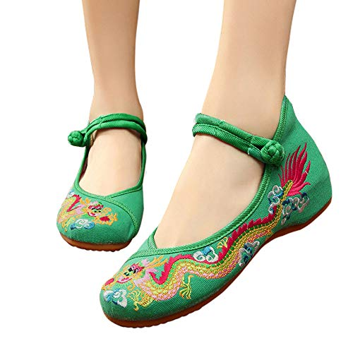 CINAK Embroidered Shoes for Women -Chinese Dragon Casual Loafers Crafts Comfortable Ballet Flats with Ankle Strap(9.5-10 B(M) US/UK7.5-8/EU42/CN43/26.5CM,Green)