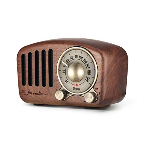 Display Mini Speaker Ipod - Vintage Radio Retro Bluetooth Speaker - Mifine Walnut Wooden FM Radio with Old Fashioned Classic Style, Strong Bass Enhancement, Loud Volume, Supports Bluetooth 4.2 AUX TF Card MP3 Player (Walnut)