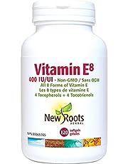 New Roots Herbal - Vitamin E8 · 400 IU, 120 softgels - Non-GMO · All 8 Forms of Vitamin E · 4 tocopherols + 4 tocotrienols