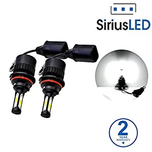 SiriusLED X2 Extremely Bright COB LED Chip 8000 Lumens Headlights Fog Lights Bulb Conversion Kit 9007 HB5 6000K Xenon White