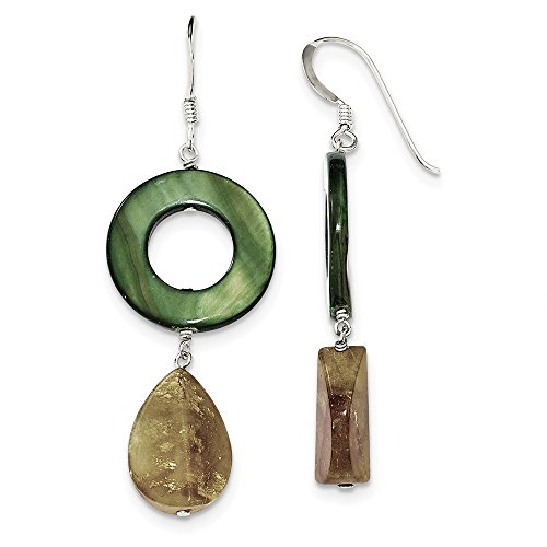 Sterling Silver Dangle Shepherd hook Dyed Jade and Green Simulated Mother of Pearl Earrings - Measures 57x20mm