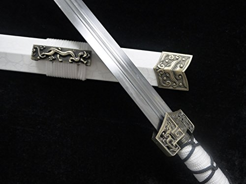 Chinese Sword/Han jian/Medium Carbon Steel Blade/White Leather Paint Scabbard