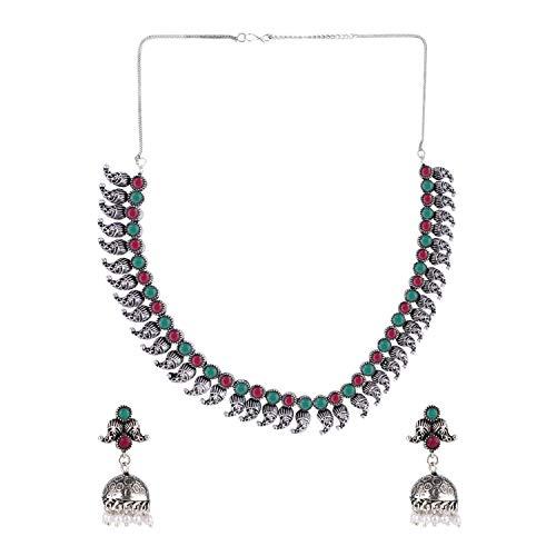 Efulgenz Boho Vintage Antique Ethnic Gypsy Indian Oxidized Silver Crystal Cubic Zirconia Bridal Necklace Earrings Jewelry Set