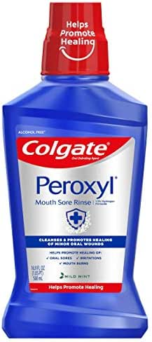 Colgate Peroxyl Mouth Sore Rinse, Mild Mint - 500mL, 16.9 fluid ounces