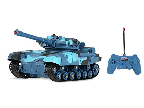 4 Scale Infrared Remote Control Battery Operated Battle Tanks w/ Infrared Light & Realistic Firing Action , Fully Rotational(Colors May Vary) ()