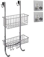 smartpeas Hangrek voor badkamer in grijs/chroom-look – 2x hangmand – 59,3 x 30 x 11 cm – roestvrij staal (poedercoating) – doucheplank zonder boren – extra: 2x roestvrijstalen kleefhaken