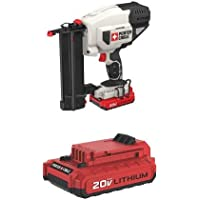 PORTER-CABLE PCC790LA 20V MAX Lithium 18GA Cordless Brad Nailer Kit, Includes Battery and Charger  with PORTER-CABLE PCC682L 20V MAX 2.0 Amp Hours Lithium Power Tool Battery