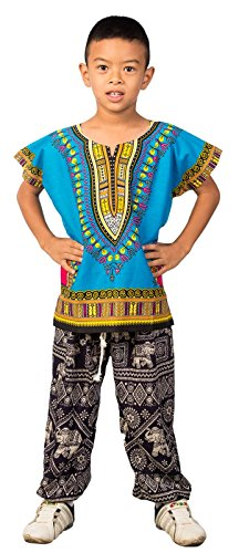 Lofbaz Unisex Child Traditional African Printed Dashiki One Size Light Blue