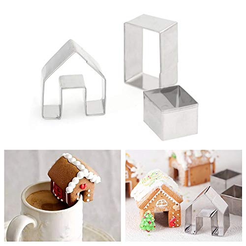 - KALAIEN 3Pcs Stainless Steel Christmas Mini House Mold Gingerbread Cookie Cutter Set Cupcake Chocolate House (Small)