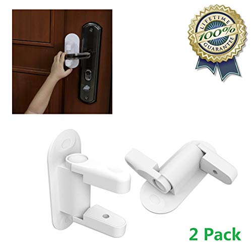 2 Pack Door Lever Lock Child Proof Doors & Handles Child Safety Locks with 3M Adhesive and 4 Pcs Clear Corner Guards for Kids, Toddlers, Babies by Adian (White)