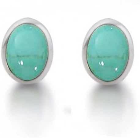 Bling Jewelry 925 Silver Bezel Set Oval Synthetic Turquoise Stud Earrings