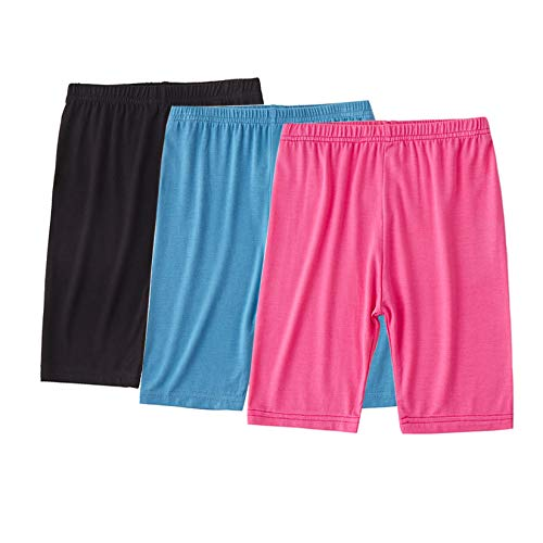 Dtone Girls Bike Shorts (Hotpink+Black+Blue, 130 (7-8 Years)).