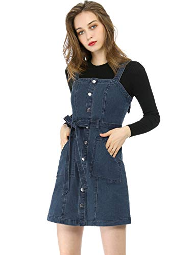 Allegra K Women's Classic Adjustable Strap A-Line Overall Denim Dress L ()