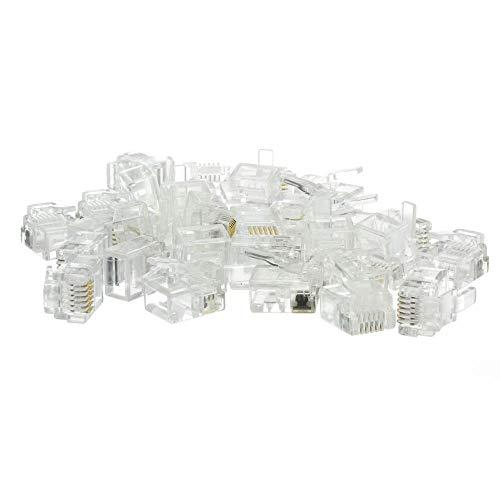 (GOWOS Phone/Data RJ12 Crimp Connectors for Flat Cable, 6P6C, 50 Pieces)