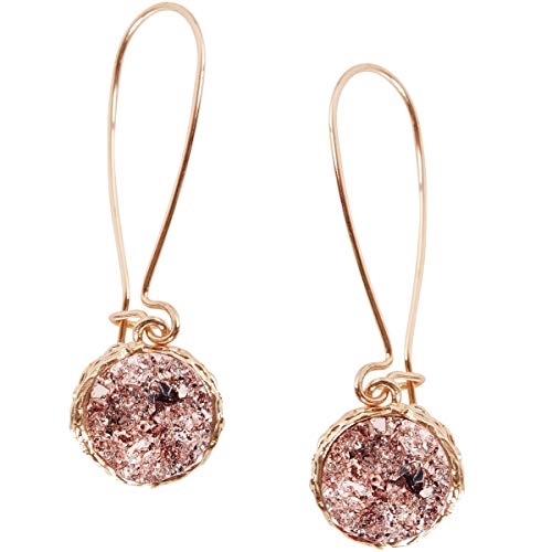 - Humble Chic Simulated Druzy Threaders - Upside-Down Long Hoop Dangle Drop Earrings for Women, Rose Stone with Gold-Tone, Metallic Pink, Gold-Tone