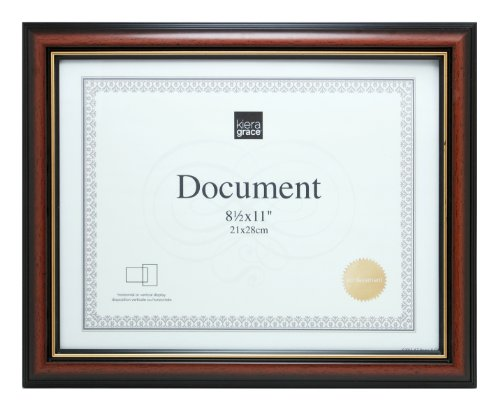 Kiera Grace Kylie Document Frame, 8.5 by 11-Inch Document, Brown with Gold Border by Kiera Grace