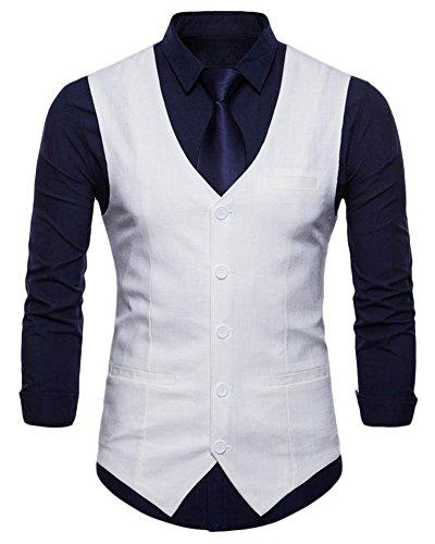 Blanc Homme Veste Business Mariage De Casual Pour Costume Sans Gilet Manche Zwfqvp4