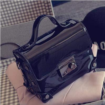 Pnizun - Consiglia buona qualità della moda cuoio dell'unità di elaborazione borsa delle signore del PVC gelatina mini borsa a tracolla crossbody borsa messenger lembo borsa [Nero Mini (Lunghezza mass Nero