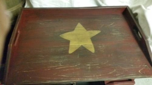 (Primitive Farmhouse Country Burgundy W/Mustard Star Noodle or Stove Board Serving Tray)
