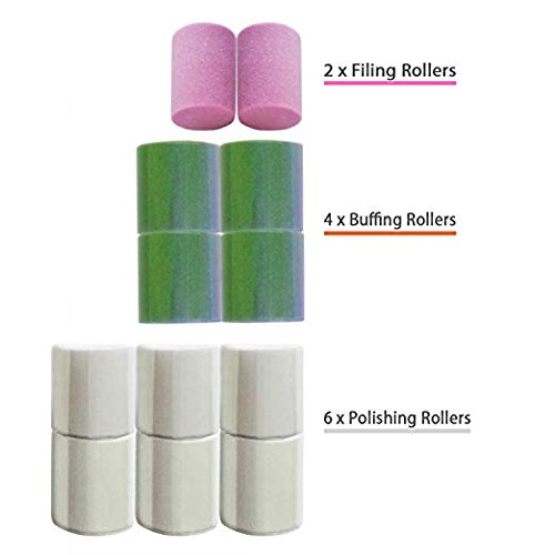 Replacement Rollers for Care me Electric Nail Care System - 2x Coarse Filing 4x Buffing & 6x Shining Heads - A Pack of 12 Refills at Great Value