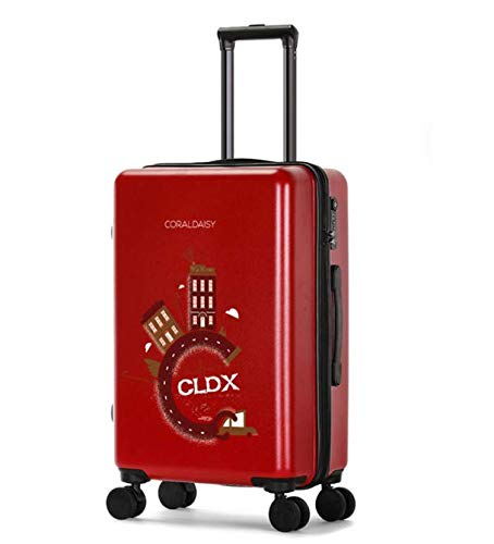 SfHx ファッショントロリーケースユニバーサルホイール漫画スーツケースかわいいプリントギフトスーツケース (Color : Red, Size : S) B07MSJ2YCF Red S