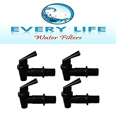 Black Spigot 4-pack, Faucet, Beverage Dispenser, Water Crock, Water Filter Bucket, Water Tap, Made for Gravity Feed with Washers and Nut