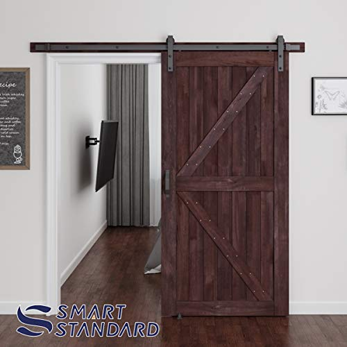 SMARTSTANDARD 42in x 84in Sliding Barn Door with 8ft Barn Door Hardware Kit & Handle, Pre-Drilled Ready to Assemble, DIY Unfinished Solid Cypress Wood Panelled Slab, K-Frame, Coffee