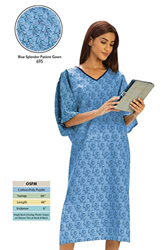 (Personal Touch Unisex Hospital Patient Gown Plastic Snap IV Sleeves with Telemetry Pocket - Blue Splendor Print - One Size Pack of)