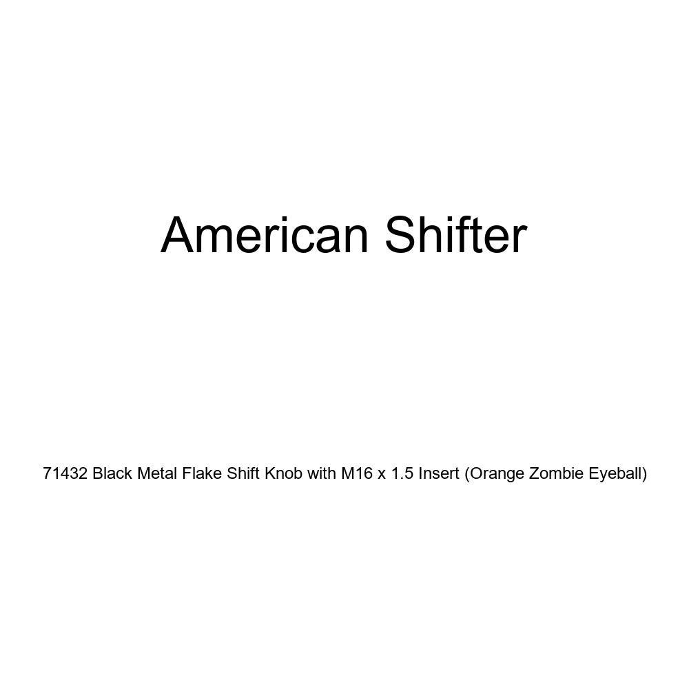 American Shifter 71432 Black Metal Flake Shift Knob with M16 x 1.5 Insert Orange Zombie Eyeball