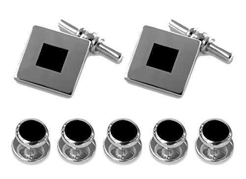 link chain Set silver Sterling Shirt onyx Cufflinks Studs Dress Gift EtPnwgq4