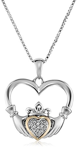 Sterling Silver and 14K Yellow Gold Diamond Claddagh Heart Pendant Necklace, 18
