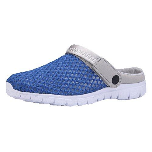 Hibote Unisex Adultos Pantuflas de Malla Respirable Sandalias Zapatos de Mulas Zapatos de Mulas Sandalias R R de Verano/Andar/Sandalias de Playa Antideslizantes Azul