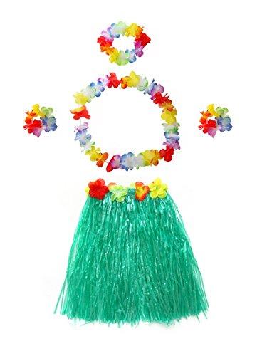 CISMARK Hawaiian Multicolor Grass Hula Skirt(Green 40cm, -