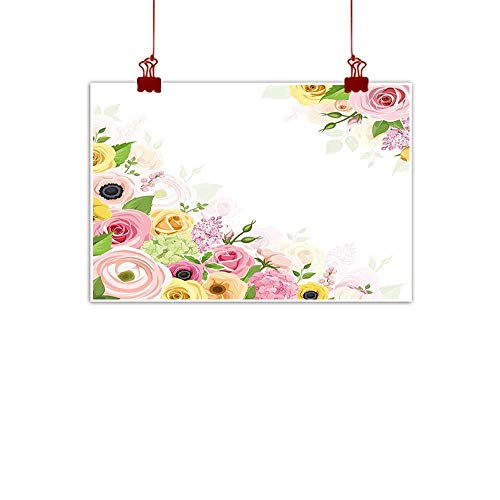"Mangooly Outdoor Nature Inspiration Poster Wilderness Anemone Flower,Roses Ranunculus and Hydrangea Flowers and Green Leaves Frame,Light Pink Yellow Green 28""x20"" for Bedroom Office Homes Decorations"