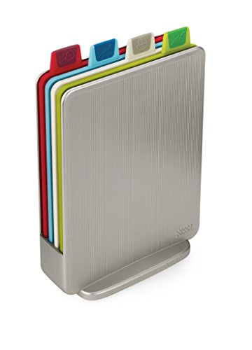 Joseph Joseph 60097 Index Cutting Board Set with Storage Case Plastic Color Coded Dishwasher-Safe, Mini, Silver